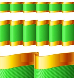 Green ribbons with gold edging vector