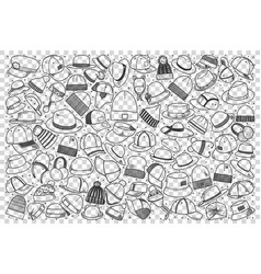 hats doodle set vector image