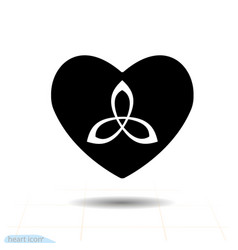 heart black icon love symbol triquetra trinity vector image