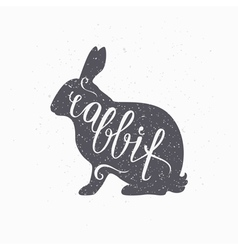 Hipster style hare silhouette Rabbit meat hand vector image