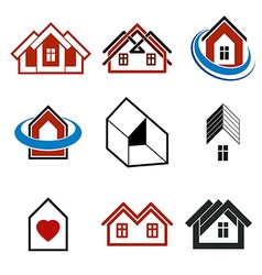 Houses abstract icons Set of simple buildings vector image