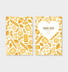 italian pasta premium quality card template set vector image