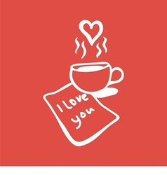 letter with love message and cup of coffee vector image