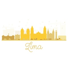 Lima City skyline golden silhouette vector image