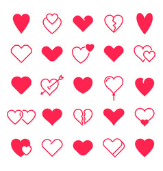 love hearts icon abstract red loving heart vector image