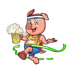 Marathon Pig Holding Beer vector