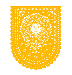 Mexican papel picado fiesta banner garland vector