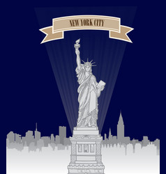 New york city usa skyline american city liberty vector