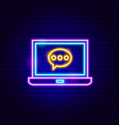 Notebook chat neon sign vector