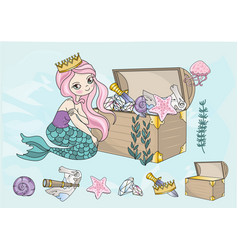 Ocean clip arts mermaids treasures color vector