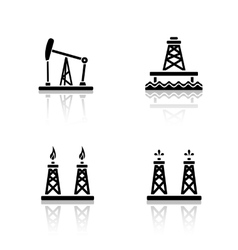 Oil platforms drop shadow icons set vector image