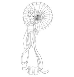 Outlined chinese lady in traditional dress holding vector