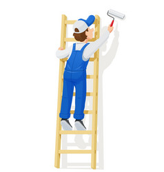painter at stairs paint wall vector image