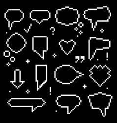 pixel art 8 bit speech bubbles white icons set vector image