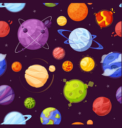Planets in outer space cartoon flat seamless vector