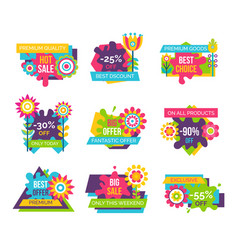 premium quality super sale label set cartoon buds vector image