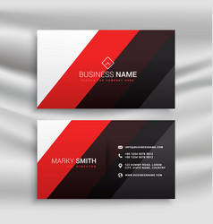 red and black minimal business card design vector image