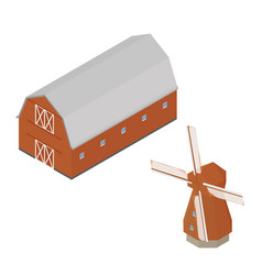 red barn and windmill isometric vector image