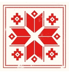Red greeting card with folk scandinavian and vector