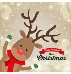 reindeer cartoon card christmas snowfall design vector image