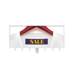 Sale billboard with dress on wooden clothes vector