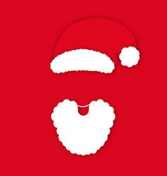 santa claus in hat on red background claus vector image