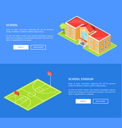 School stadium and educational establishment 3d vector