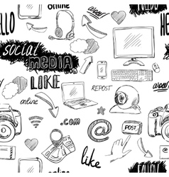 Seamless doodle social media pattern vector image