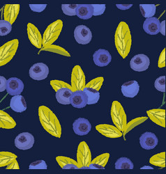 Seamless pattern of blueberry vector