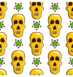 Seamless pattern with cartoon skulls vector