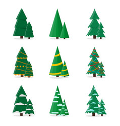 set christmas tree in flat style stylish design vector image
