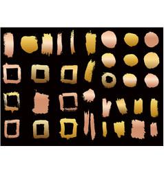 set golden style brush strokes design element vector image