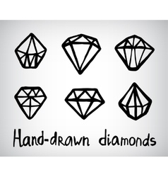 set of hand-drawn diamond icons vector image
