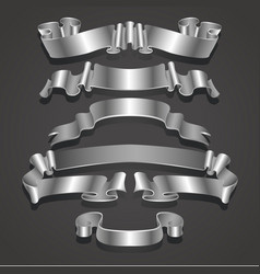 Set of realistic white and silver ribbons element vector