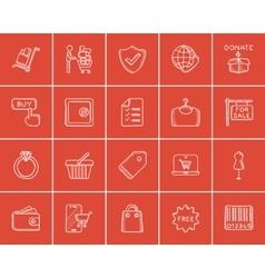 Shopping sketch icon set vector image