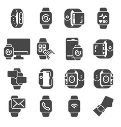 simple set smart watch icons vector image