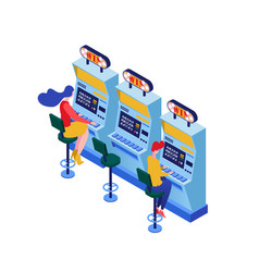 Slot machines playing isometric vector