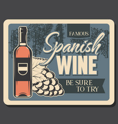Spanish wine winery shop and vineyard grape vector