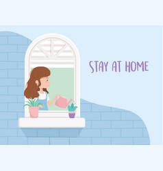 Stay at home quarantine woman in window vector