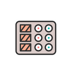 sushi dish flat color line icon vector image