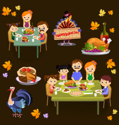 thanksgiving set isolated happy family vector image