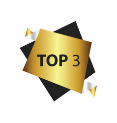 Top3 text in label gold silver vector
