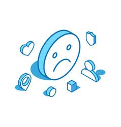 Unhappy emoji blue line isometric vector