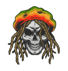 Vintage colorful rastaman skull template vector