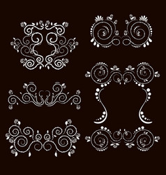 vintage frames and scroll elements2 vector image