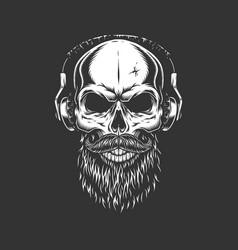 Vintage monochrome skull wearing headphones vector