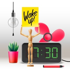 Wake up workspace mock up with digital alarm vector