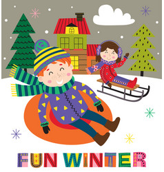 Winter poster with kids on sled vector