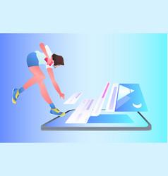 Woman developer creating mobile website ui web vector