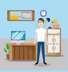Worker inside office vector